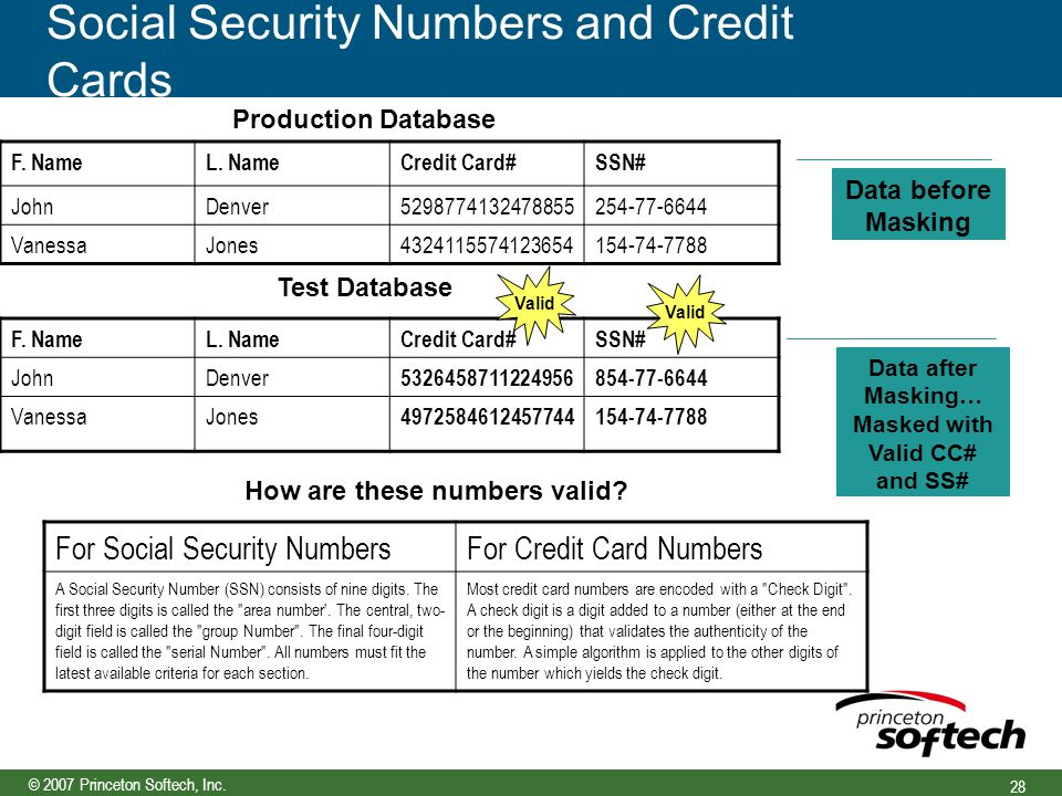 © 2007 Princeton Softech, Inc. 28 Social Security Numbers and Credit Cards F.
