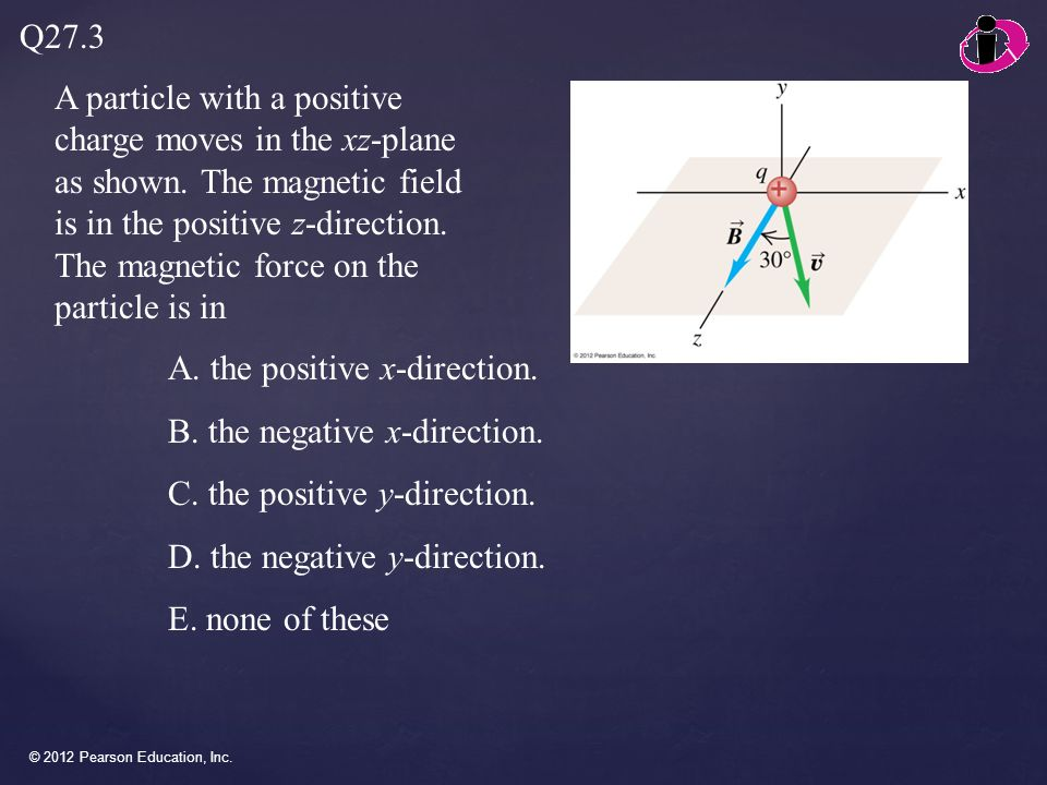 © 2012 Pearson Education, Inc. A particle with a positive charge moves in the xz-plane as shown. The magnetic field is in the positive z-direction. Th
