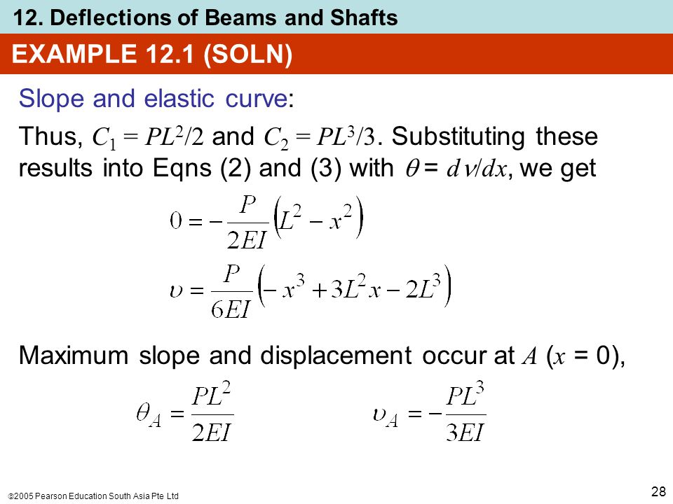  2005 Pearson Education South Asia Pte Ltd 12. Deflections of Beams and Shafts 28 EXAMPLE 12.1 (SOLN) Slope and elastic curve: Thus, C 1 = PL 2 /2 an