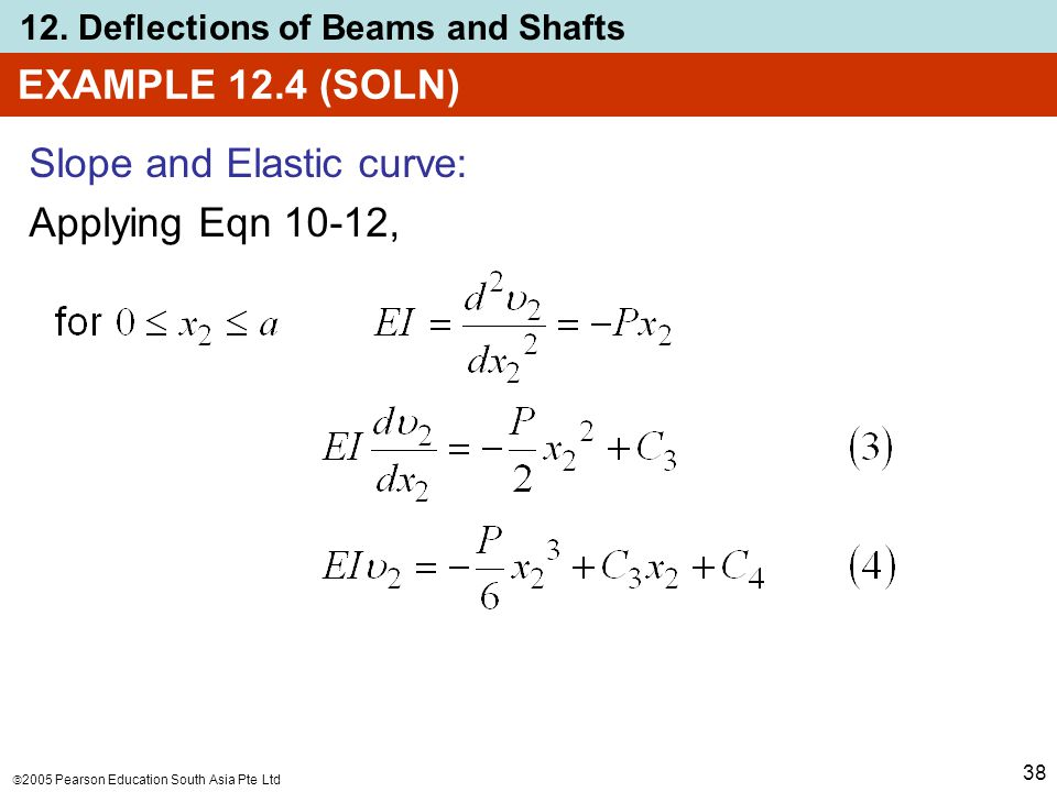  2005 Pearson Education South Asia Pte Ltd 12. Deflections of Beams and Shafts 38 EXAMPLE 12.4 (SOLN) Slope and Elastic curve: Applying Eqn 10-12,