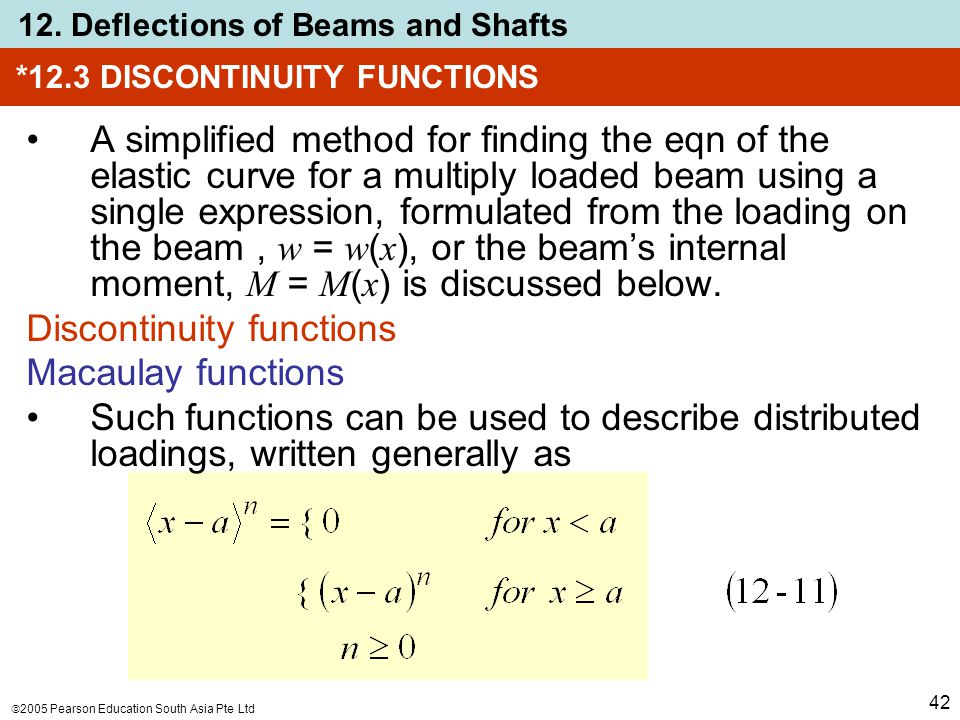  2005 Pearson Education South Asia Pte Ltd 12. Deflections of Beams and Shafts 42 *12.3 DISCONTINUITY FUNCTIONS A simplified method for finding the e
