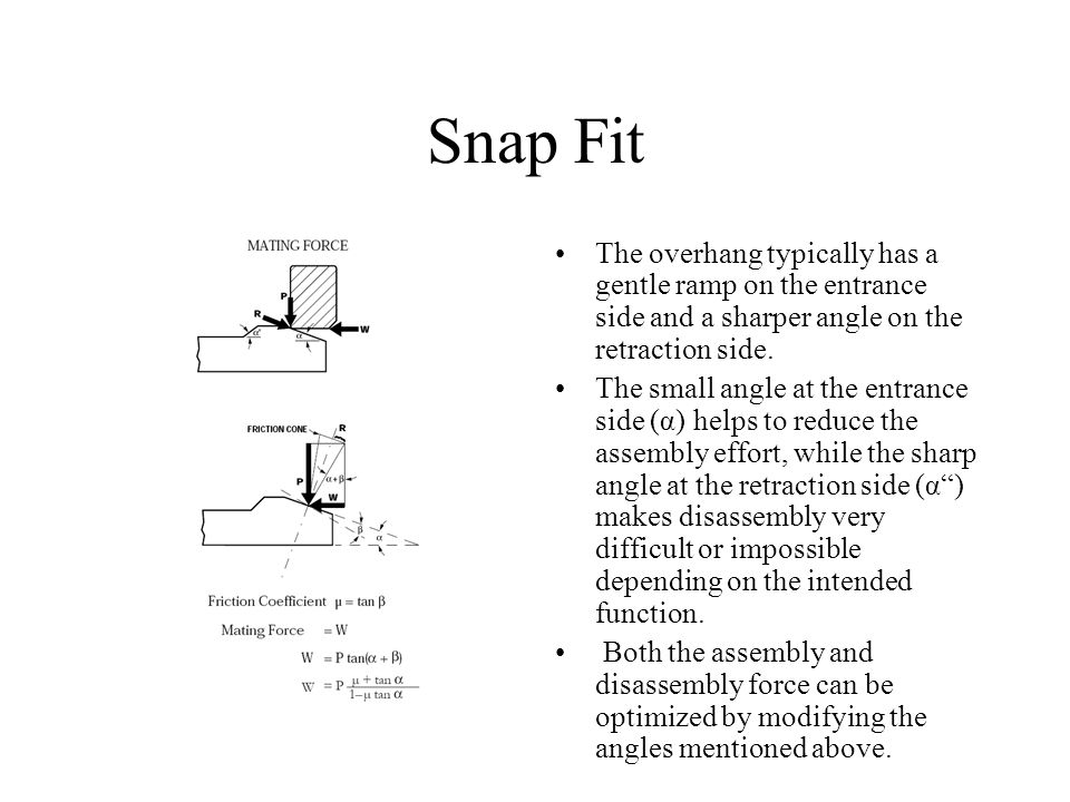 Snap Fit The overhang typically has a gentle ramp on the entrance side and a sharper angle on the retraction side.