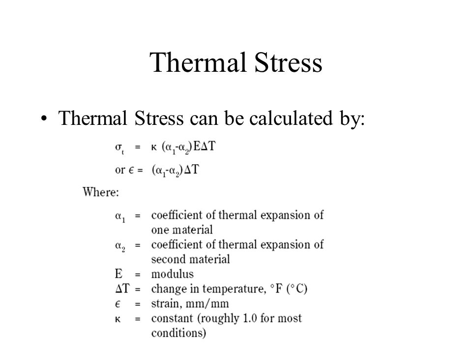 Thermal Stress Thermal Stress can be calculated by: