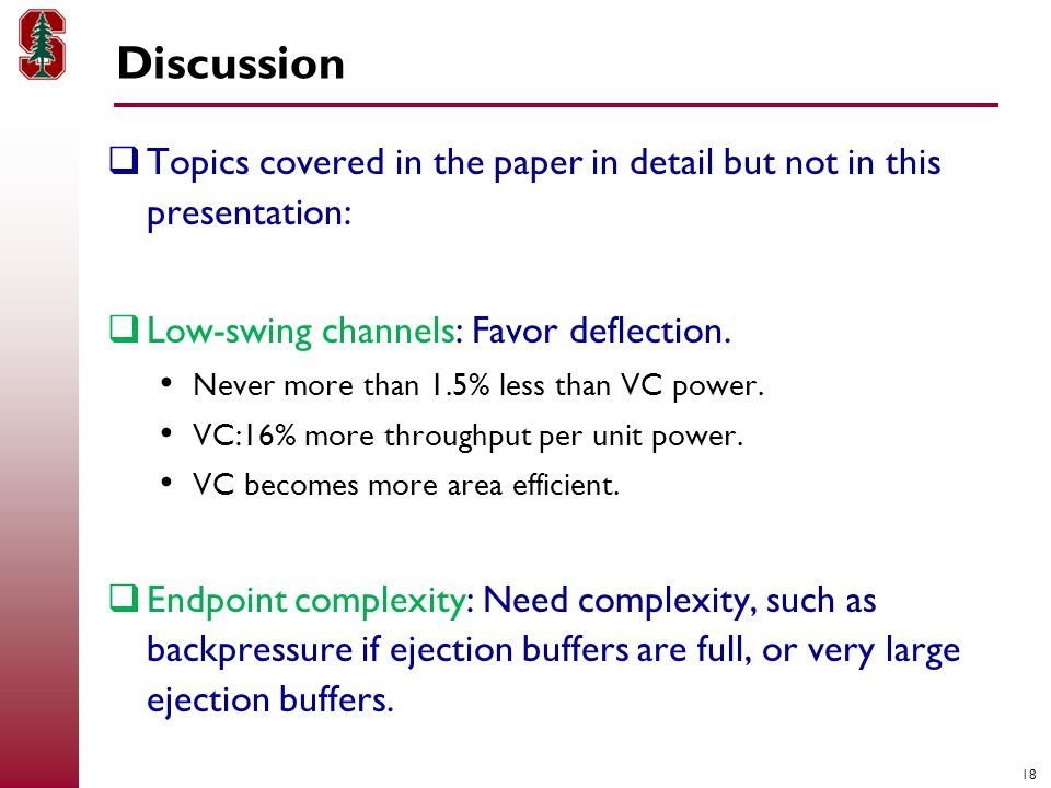 18 Discussion  Topics covered in the paper in detail but not in this presentation:  Low-swing channels: Favor deflection.