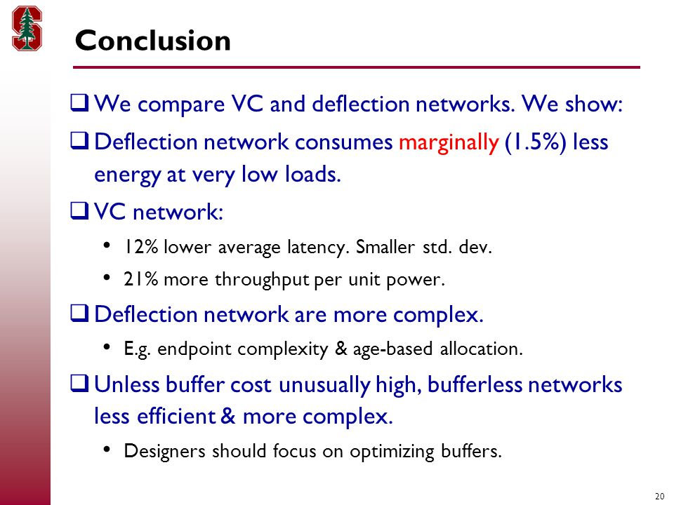 20 Conclusion  We compare VC and deflection networks.