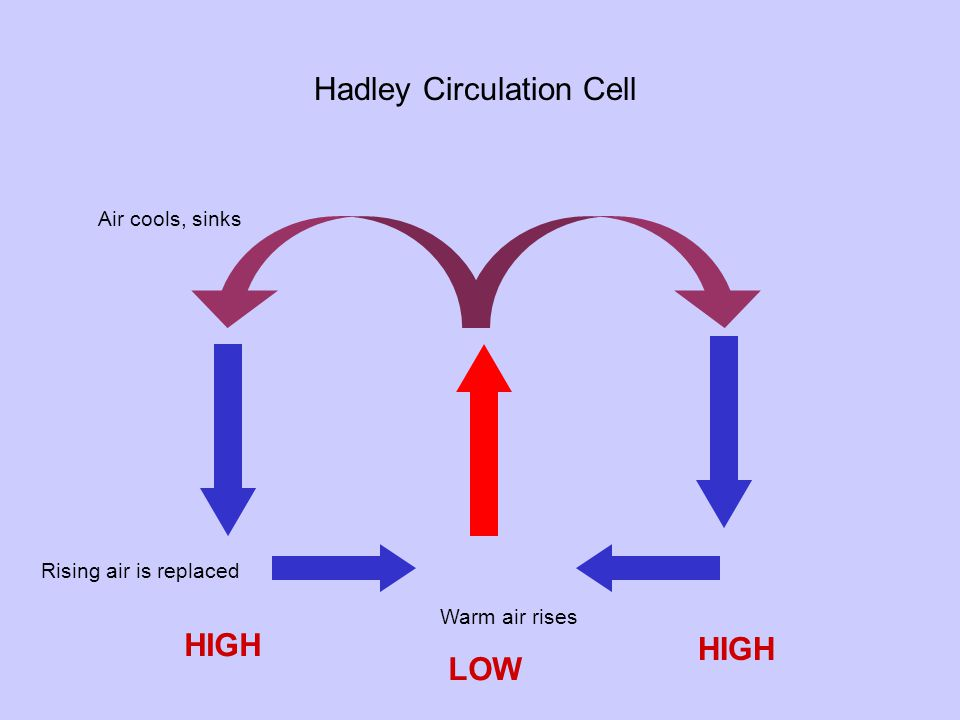 Warm air rises Air cools, sinks Rising air is replaced Hadley Circulation Cell LOW HIGH