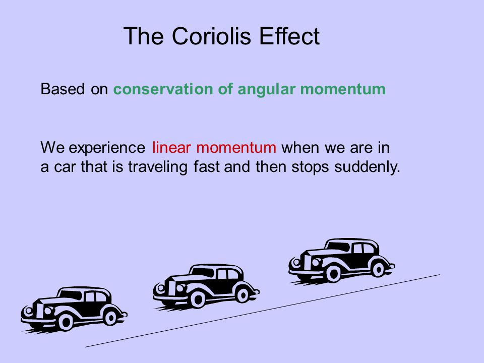 The Coriolis Effect Based on conservation of angular momentum We experience linear momentum when we are in a car that is traveling fast and then stops suddenly.