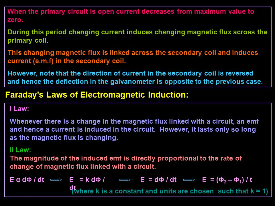 When the primary circuit is open current decreases from maximum value to zero. During this period changing current induces changing magnetic flux acro