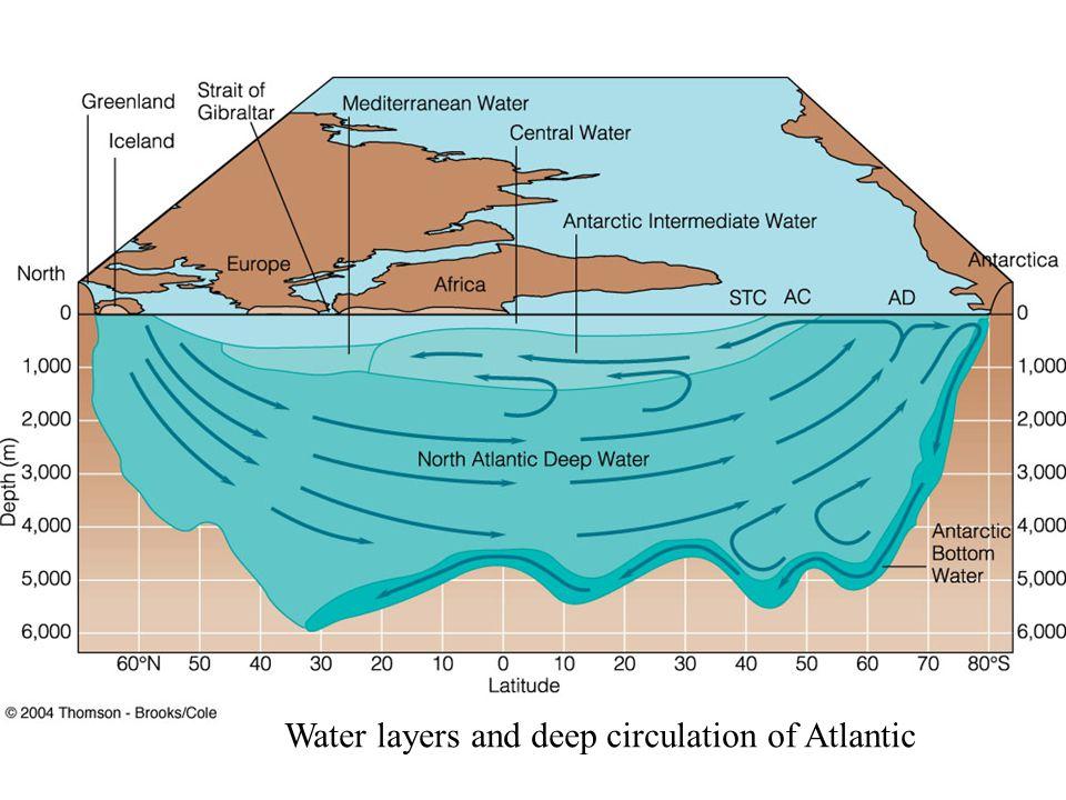 Water layers and deep circulation of Atlantic