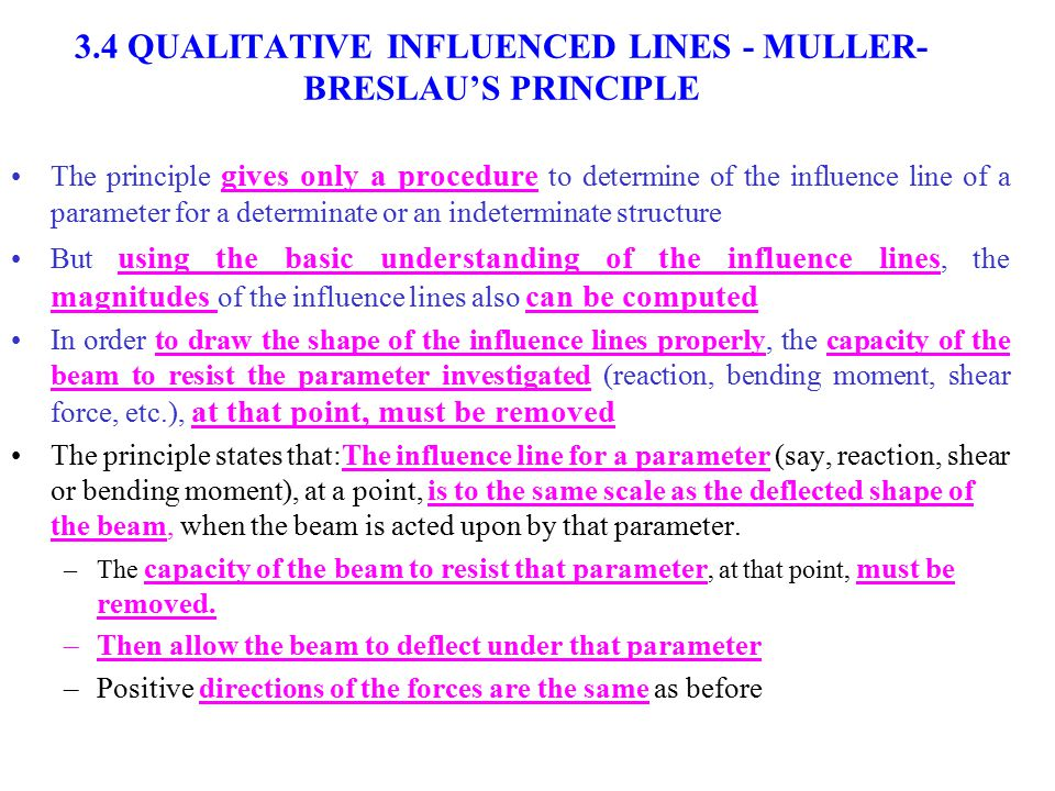 11 3.4 QUALITATIVE INFLUENCED LINES - MULLER- BRESLAU'S PRINCIPLE The principle gives only a procedure to determine of the influence line of a paramet
