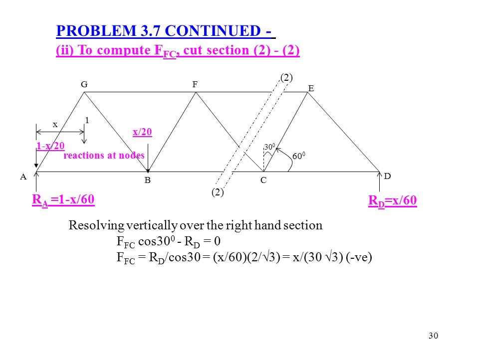 30 PROBLEM 3.7 CONTINUED - (ii) To compute F FC, cut section (2) - (2) Resolving vertically over the right hand section F FC cos30 0 - R D = 0 F FC =