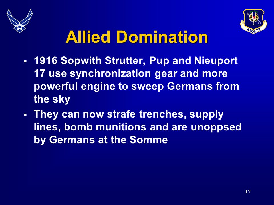 Allied Domination  1916 Sopwith Strutter, Pup and Nieuport 17 use synchronization gear and more powerful engine to sweep Germans from the sky  They