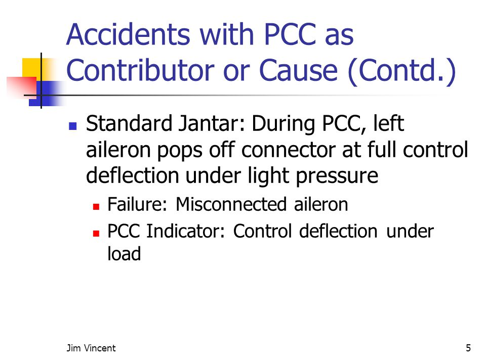 Jim Vincent5 Accidents with PCC as Contributor or Cause (Contd.) Standard Jantar: During PCC, left aileron pops off connector at full control deflection under light pressure Failure: Misconnected aileron PCC Indicator: Control deflection under load