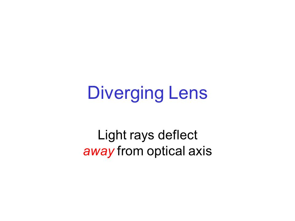 Diverging Lens Light rays deflect away from optical axis