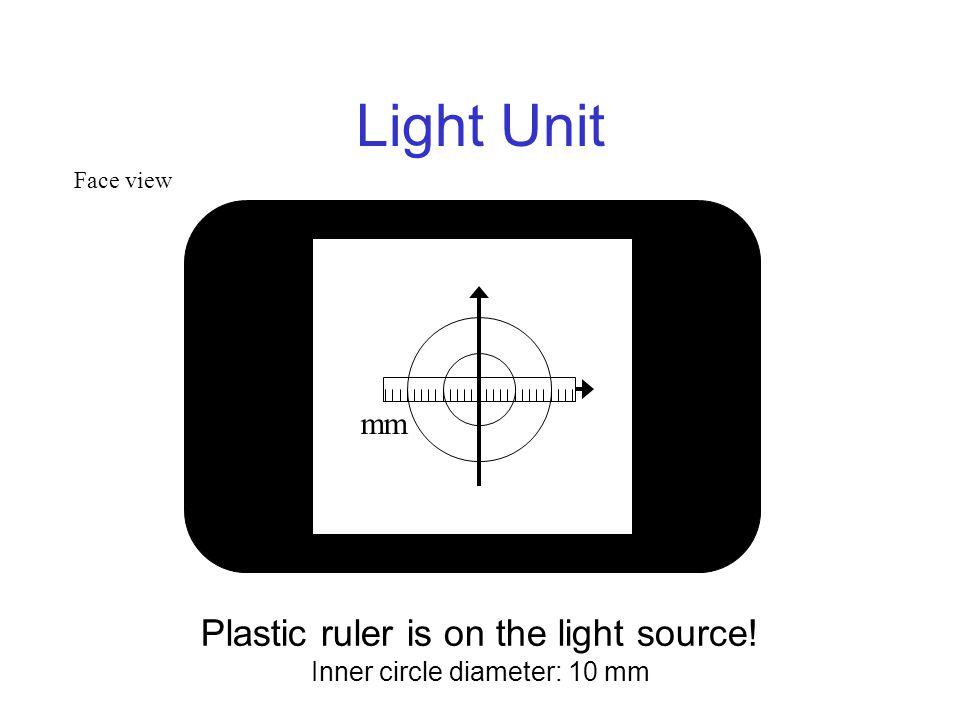 Light Unit Plastic ruler is on the light source! Inner circle diameter: 10 mm mm Face view