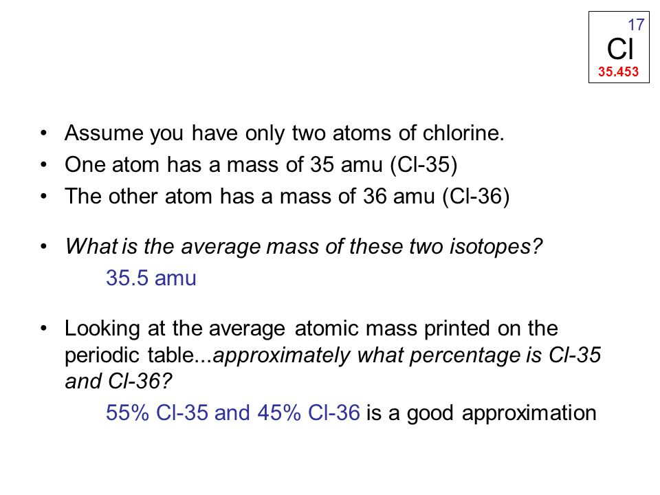Assume you have only two atoms of chlorine.