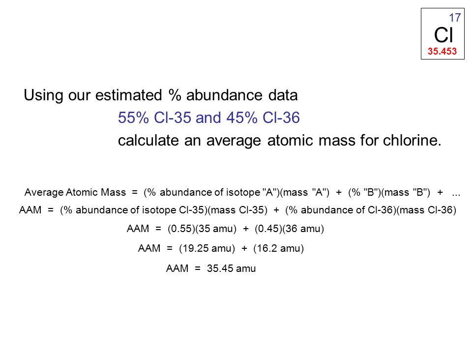 Using our estimated % abundance data 55% Cl-35 and 45% Cl-36 calculate an average atomic mass for chlorine.