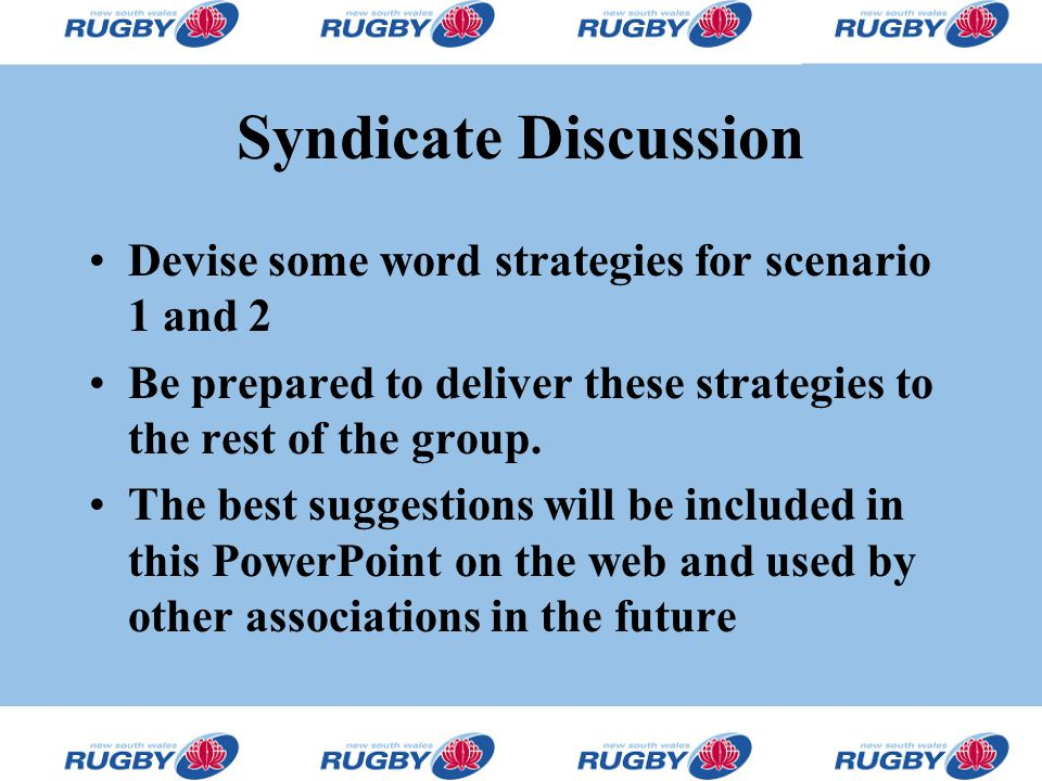 Syndicate Discussion Devise some word strategies for scenario 1 and 2 Be prepared to deliver these strategies to the rest of the group.