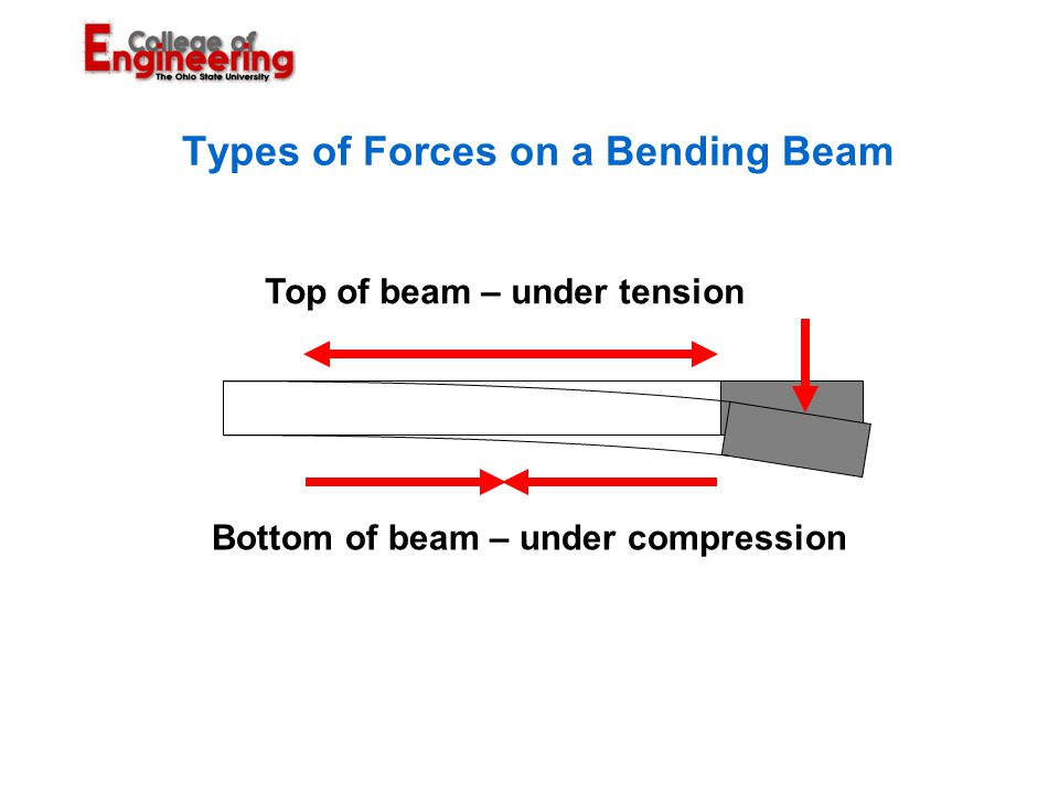 Types of Forces on a Bending Beam Bottom of beam – under compression Top of beam – under tension