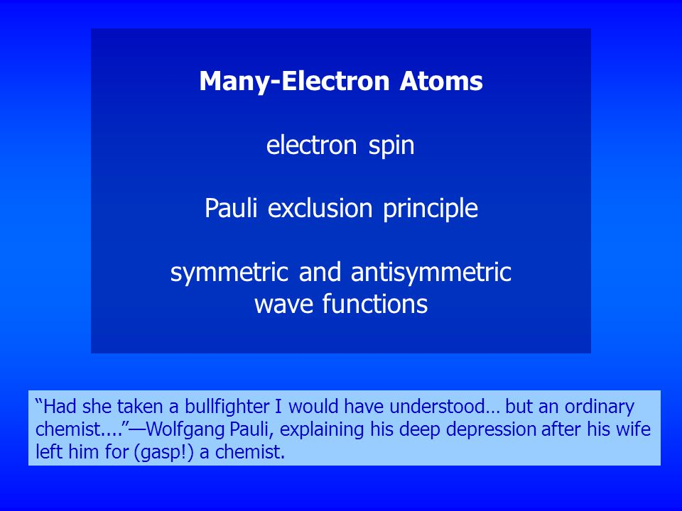 "Many-Electron Atoms electron spin Pauli exclusion principle symmetric and antisymmetric wave functions ""Had she taken a bullfighter I would have under"