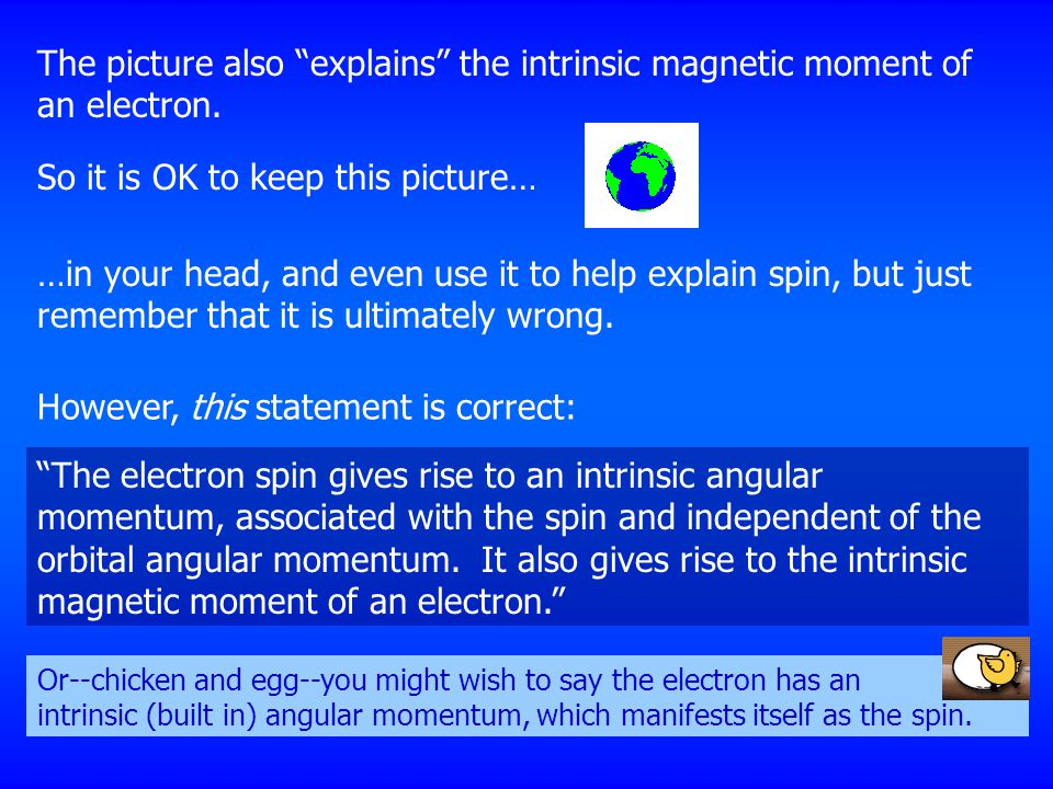 "The picture also ""explains"" the intrinsic magnetic moment of an electron. So it is OK to keep this picture… …in your head, and even use it to help exp"