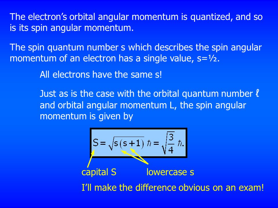 The electron's orbital angular momentum is quantized, and so is its spin angular momentum. The spin quantum number s which describes the spin angular