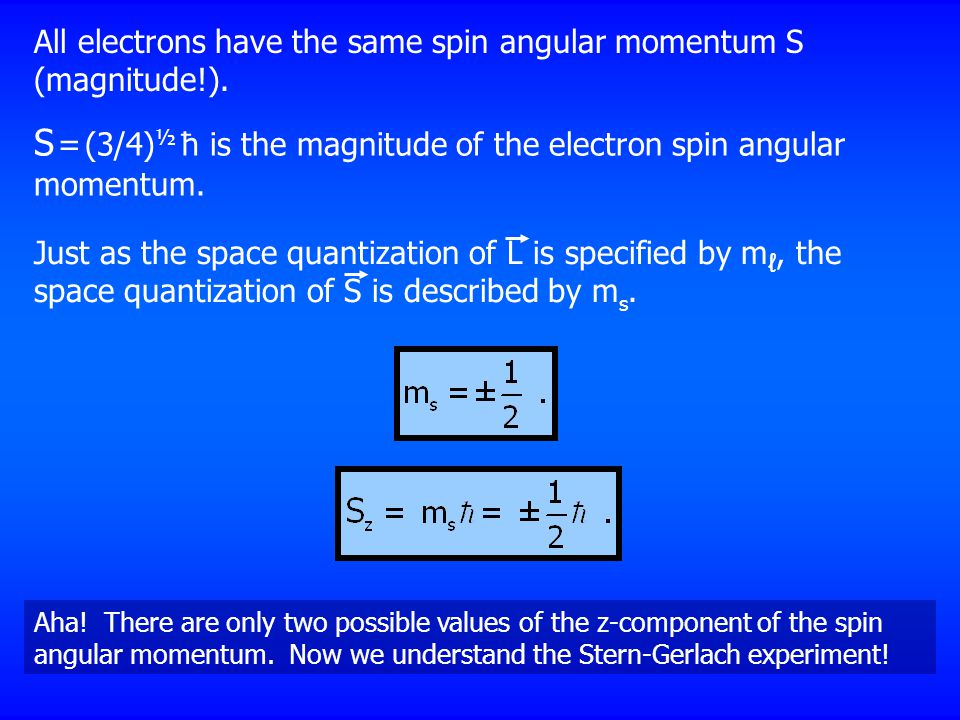 All electrons have the same spin angular momentum S (magnitude!). S = (3/4) ½ ħ is the magnitude of the electron spin angular momentum. Aha! There are