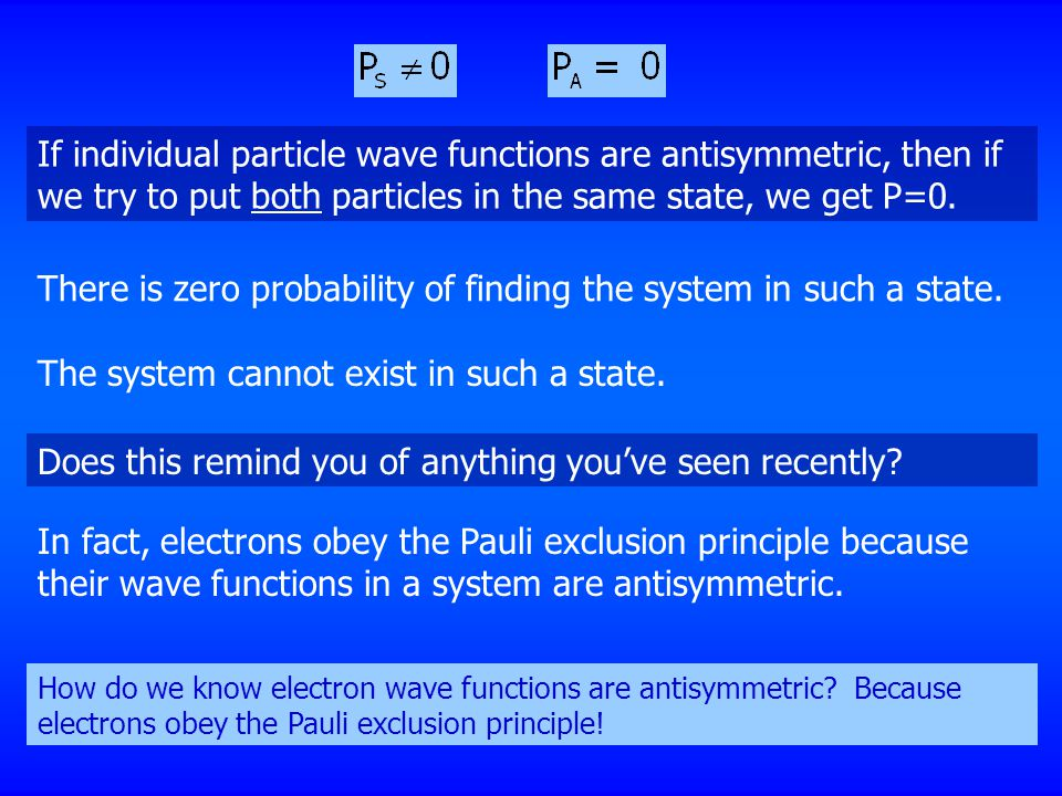 If individual particle wave functions are antisymmetric, then if we try to put both particles in the same state, we get P=0. There is zero probability