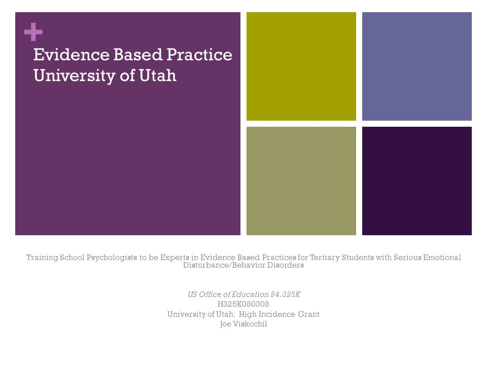 + Evidence Based Practice University of Utah Training School Psychologists to be Experts in Evidence Based Practices for Tertiary Students with Serious Emotional Disturbance/Behavior Disorders US Office of Education 84.325K H325K080308 University of Utah: High Incidence Grant Joe Viskochil