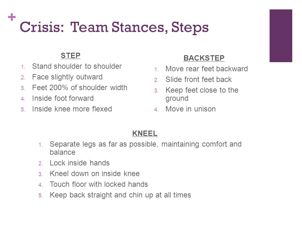 + Crisis: Team Stances, Steps STEP 1. Stand shoulder to shoulder 2.