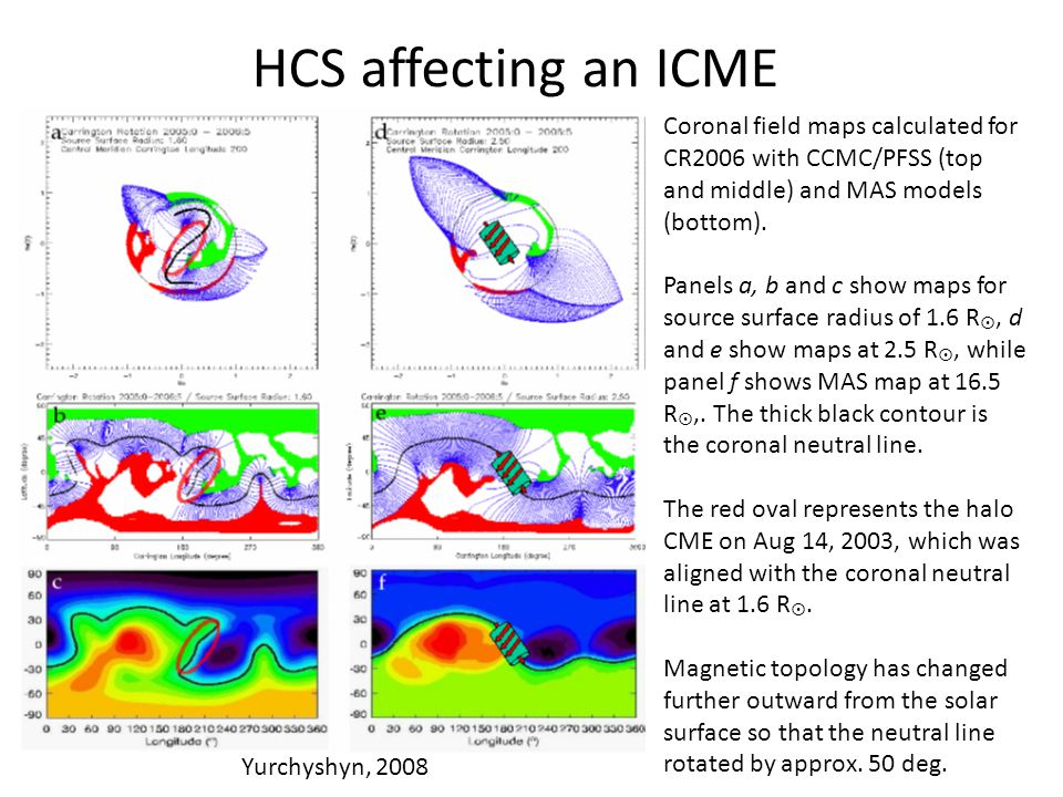 HCS affecting an ICME Coronal field maps calculated for CR2006 with CCMC/PFSS (top and middle) and MAS models (bottom).