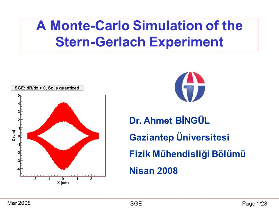 Page 1/28 Mar 2008 SGE A Monte-Carlo Simulation of the Stern-Gerlach Experiment Dr.
