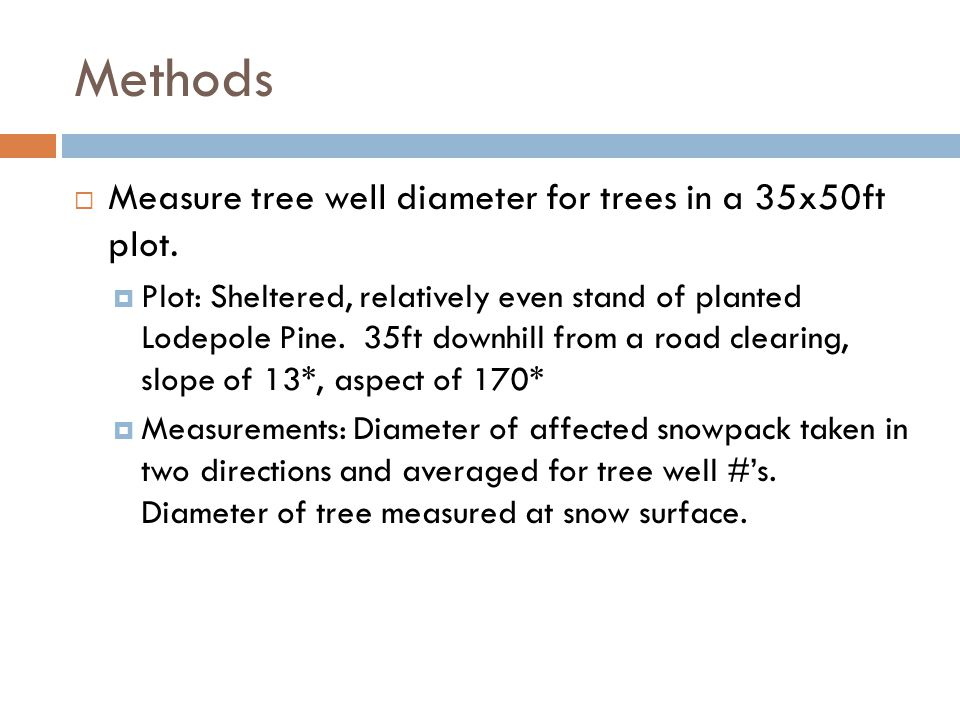 Methods  Measure tree well diameter for trees in a 35x50ft plot.