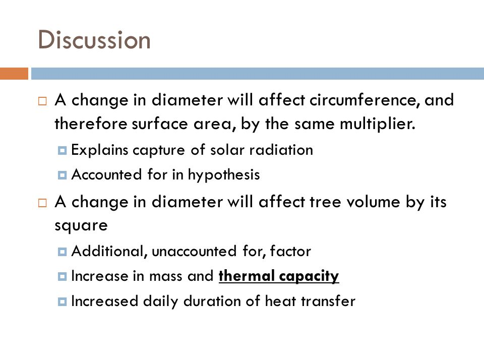 Discussion  A change in diameter will affect circumference, and therefore surface area, by the same multiplier.
