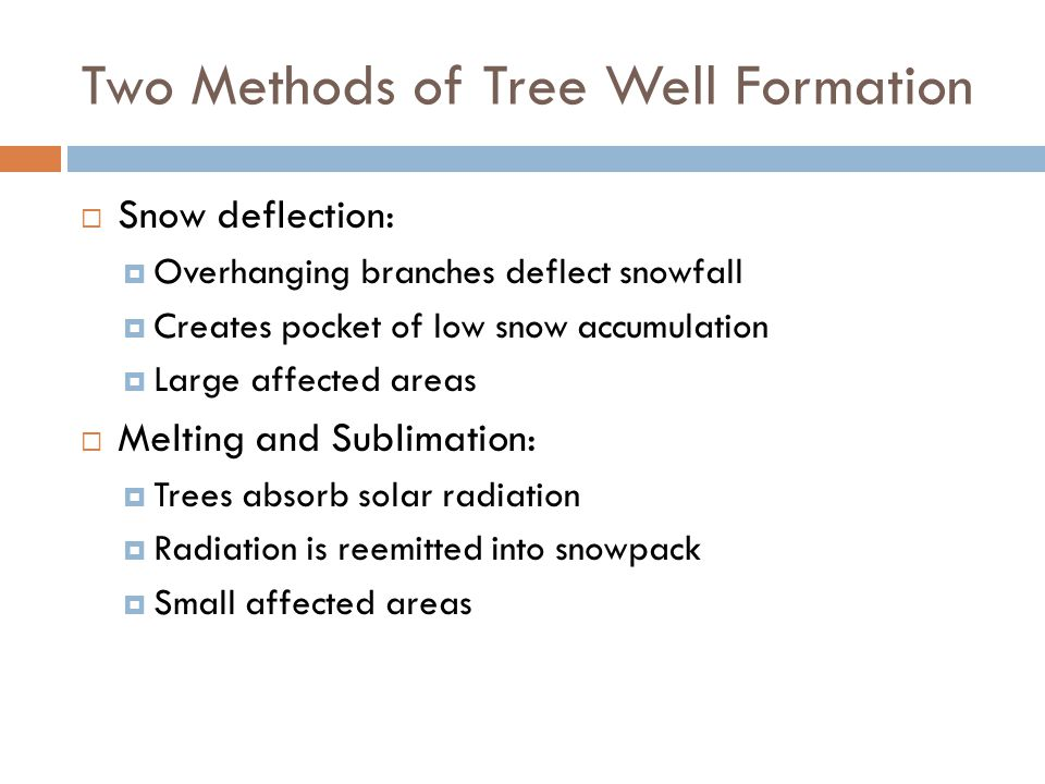 Two Methods of Tree Well Formation  Snow deflection:  Overhanging branches deflect snowfall  Creates pocket of low snow accumulation  Large affected areas  Melting and Sublimation:  Trees absorb solar radiation  Radiation is reemitted into snowpack  Small affected areas