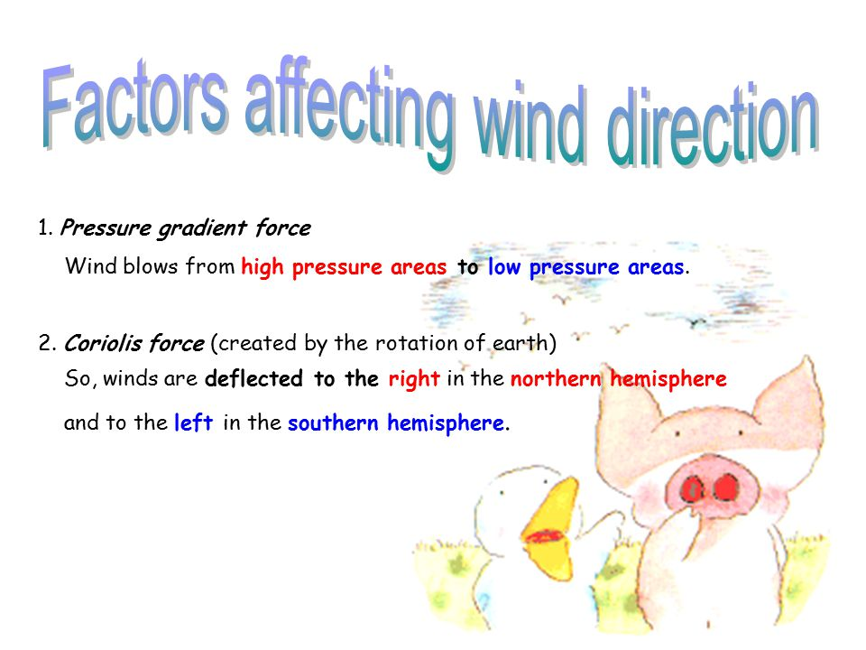 1.Pressure gradient force Wind blows from high pressure areas to low pressure areas.