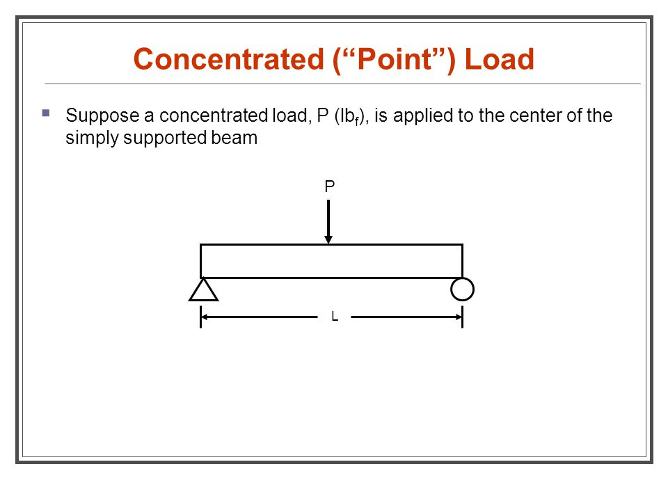 """Concentrated (""""Point"""") Load  Suppose a concentrated load, P (lb f ), is applied to the center of the simply supported beam P L"""