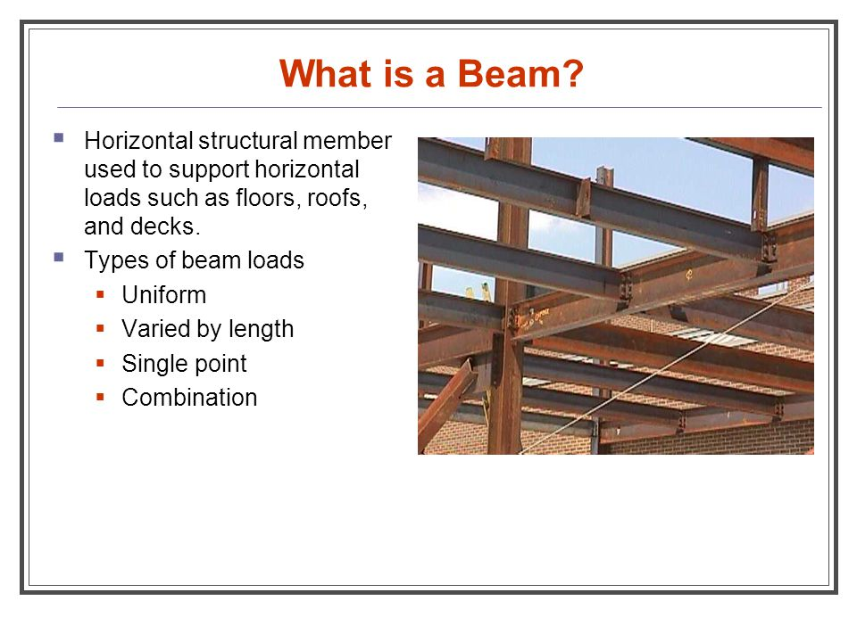 What is a Beam?  Horizontal structural member used to support horizontal loads such as floors, roofs, and decks.  Types of beam loads  Uniform  Va