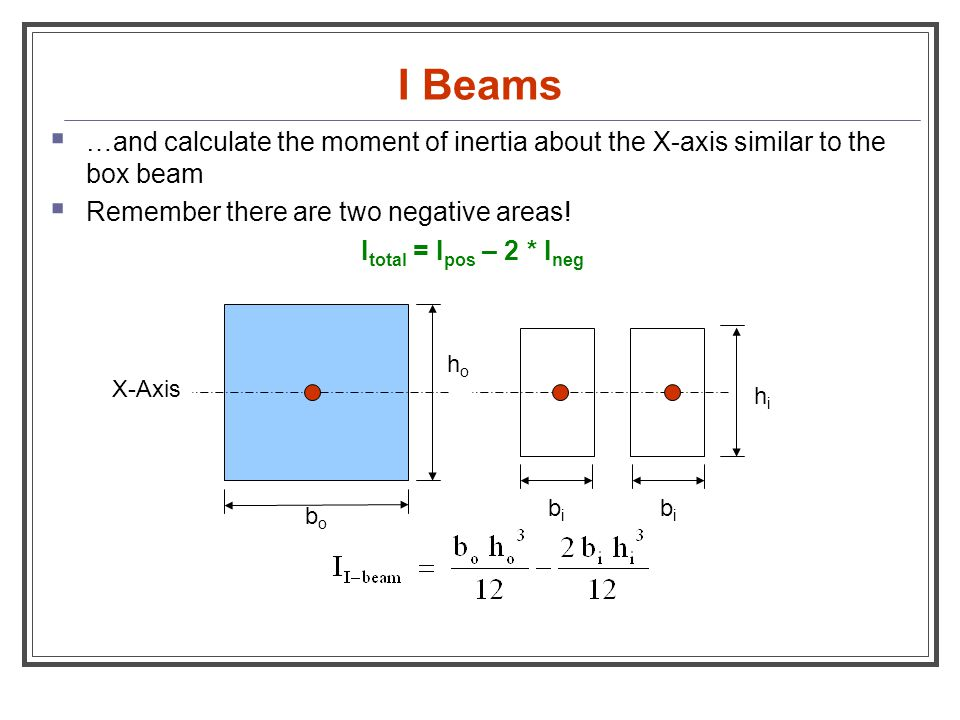 I Beams  …and calculate the moment of inertia about the X-axis similar to the box beam  Remember there are two negative areas! I total = I pos – 2 *
