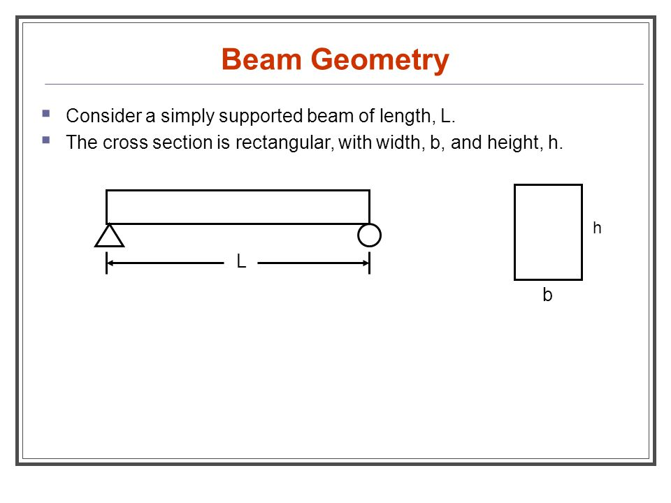 Beam Geometry  Consider a simply supported beam of length, L.  The cross section is rectangular, with width, b, and height, h. b h L