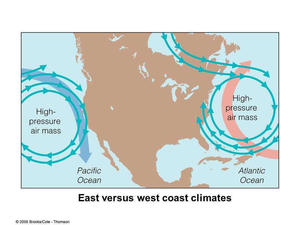 East versus west coast climates