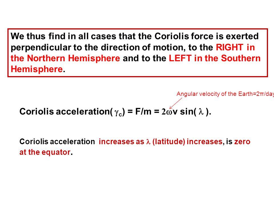Coriolis acceleration(  c ) = F/m = 2  v sin( ).
