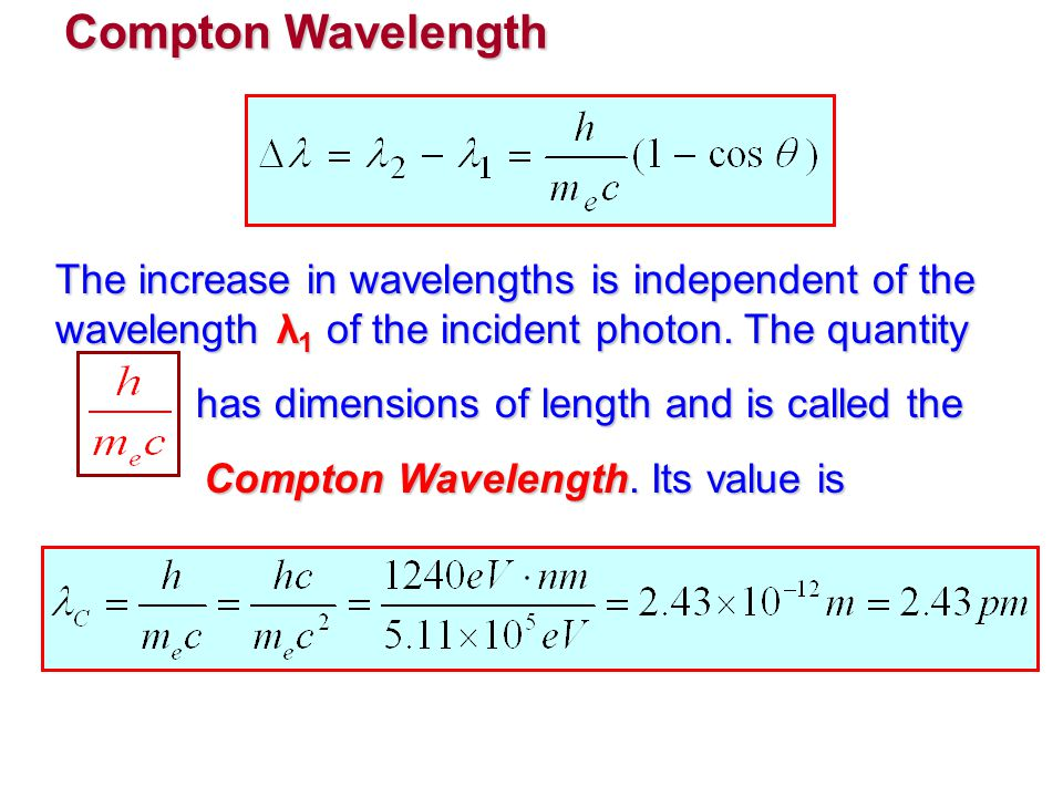 Compton Wavelength The increase in wavelengths is independent of the wavelength λ 1 of the incident photon. The quantity has dimensions of length and