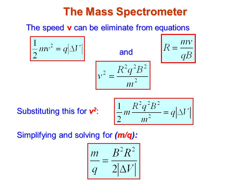 The Mass Spectrometer The speed v can be eliminate from equations and Substituting this for v 2 : Simplifying and solving for (m/q):