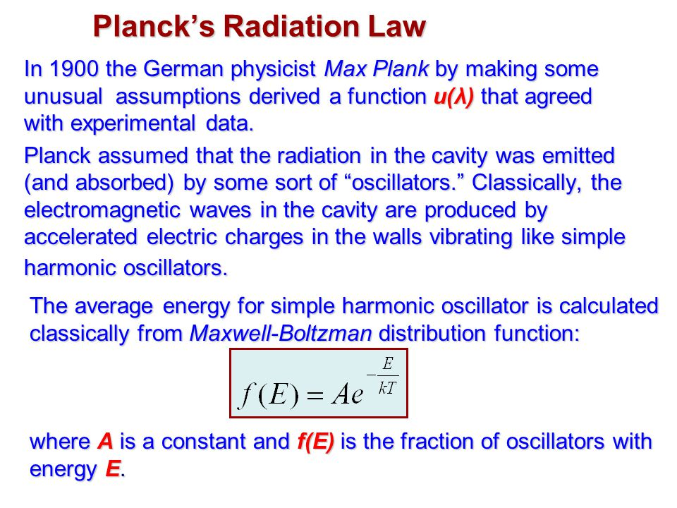In 1900 the German physicist Max Plank by making some unusual assumptions derived a function u(λ) that agreed with experimental data. Planck assumed t