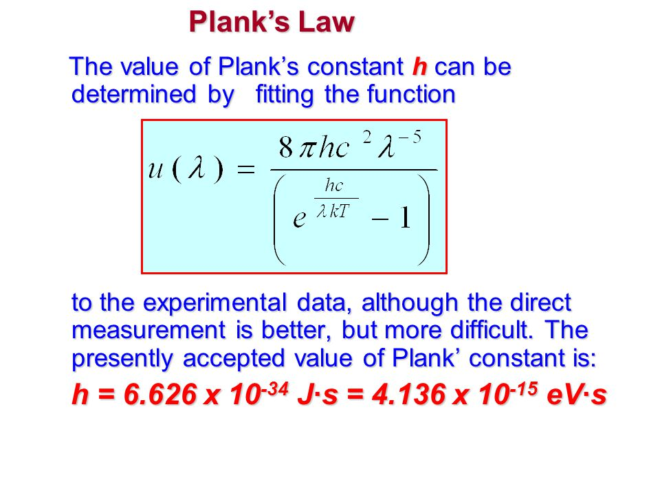 The value of Plank's constant h can be determined by fitting the function to the experimental data, although the direct measurement is better, but mor