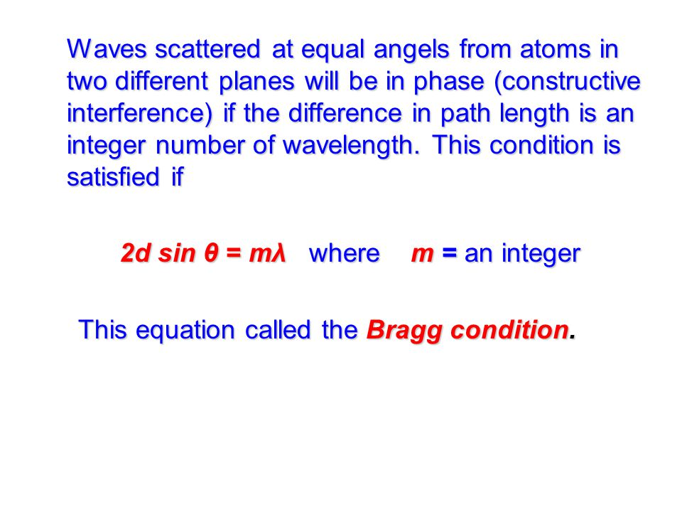 Waves scattered at equal angels from atoms in two different planes will be in phase (constructive interference) if the difference in path length is an