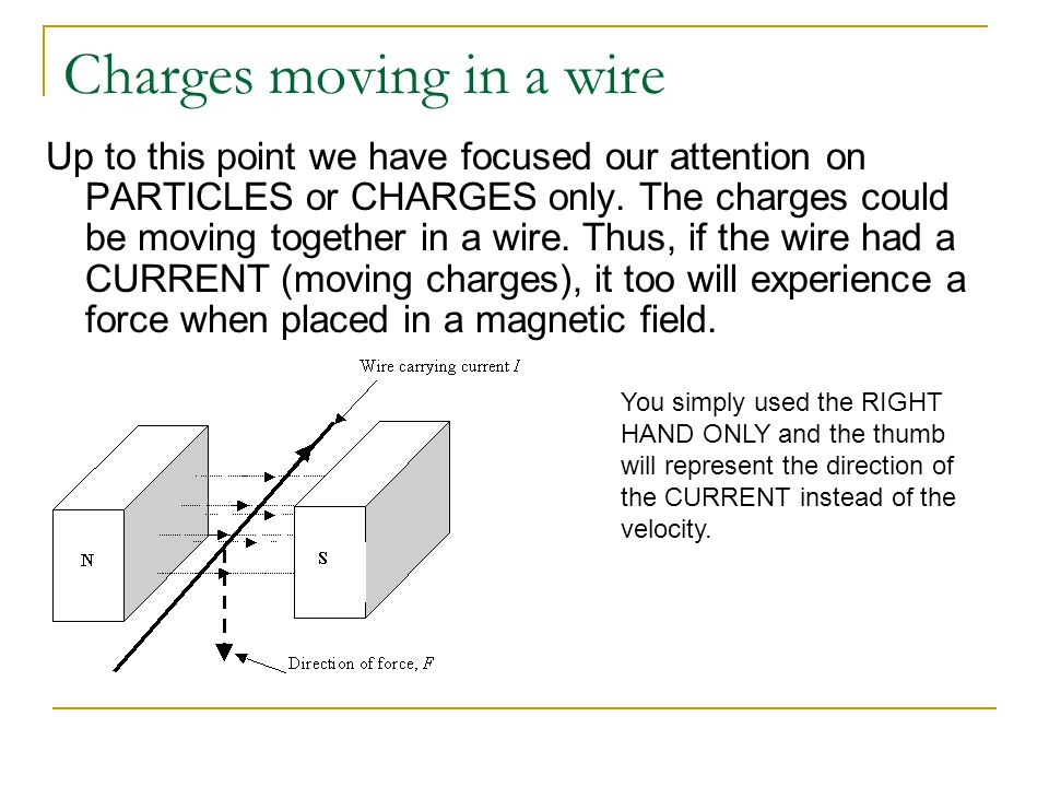 Charges moving in a wire Up to this point we have focused our attention on PARTICLES or CHARGES only. The charges could be moving together in a wire.
