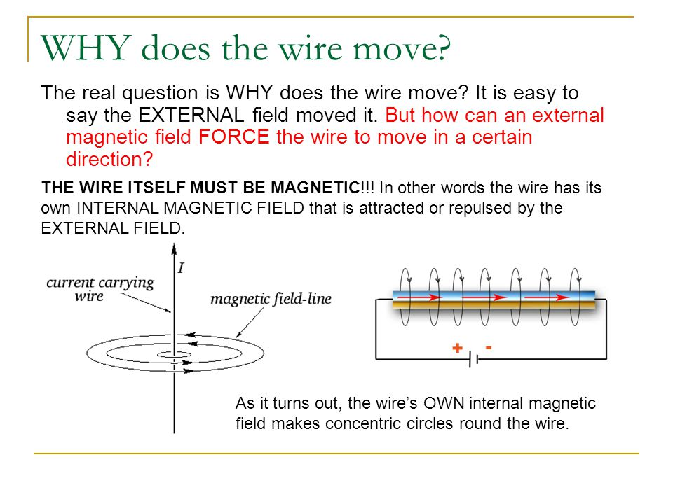 WHY does the wire move. The real question is WHY does the wire move.