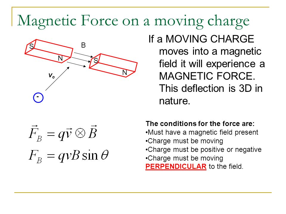 Magnetic Force on a moving charge If a MOVING CHARGE moves into a magnetic field it will experience a MAGNETIC FORCE. This deflection is 3D in nature.
